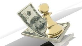 Van de het schaakstrategie van het dollar gouden pand het geldinvestering - het 3d teruggeven stock foto