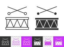 Van de het spel het eenvoudige zwarte lijn van trommeltoy kids vectorpictogram stock illustratie