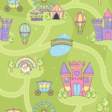 Van de het spelmat van het prinseskasteel naadloos de activiteitenspel voor meisjes Stock Foto