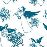 Van de het spelmuziek van het engelen de vectorpatroon naadloze schets royalty-vrije illustratie