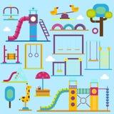 Van de het spelstreek van de jonge geitjesspeelplaats van de pretkinderen vector de activiteiten vlakke illustratie playpark De g stock illustratie
