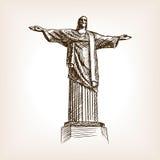 Van de het standbeeldhand getrokken schets van Christus de stijlvector Royalty-vrije Stock Afbeelding