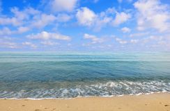 Van de het strand het blauwe hemel van de Zwarte Zee daglicht van de het zandzon Royalty-vrije Stock Foto
