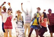 Van de het Strandpartij van tienersvrienden het Gelukconcept stock afbeelding