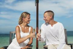 Van de het Strandzomer van de paarviering de Toost Champagne Concept stock foto's