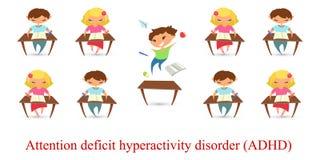 Van de het tekorthyperactiviteit van de kinderenaandacht de wanordeprobleem Vecto stock foto's