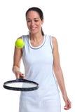 Van de het tennisspeler van de vrouw de stuiterende bal op racket Stock Afbeeldingen