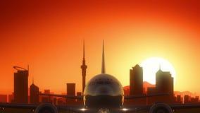 Van de het Vliegtuigstart van Auckland Nieuw Zeeland de Horizon Gouden Achtergrond vector illustratie