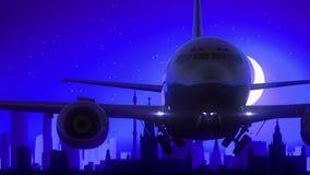 Van de het Vliegtuigstart van Moskou Rusland van de de Maannacht Blauwe de Horizonreis stock videobeelden