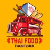 Van de het Voedsel Snel Levering van de voedselvrachtwagen Thais de Dienst Vectorembleem stock illustratie