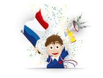 Van de het Voetbalventilator van Frankrijk de Vlagbeeldverhaal Stock Foto's
