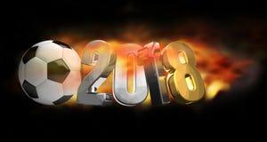 van de het voetbalvoetbal van 2018 3d de bal de brand geeft terug Stock Afbeelding