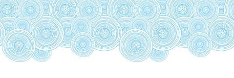 Van de het watertextuur van de krabbelcirkel de horizontale grens Stock Afbeeldingen