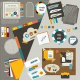 Van de het Weblay-out van het het werkbureau de vlakke componenten Kleurrijk grafisch malplaatje Omslag, sticker, grafiek, lusje, vector illustratie