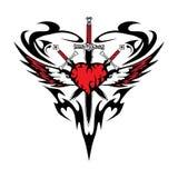 Van de het zwaardtatoegering van de hartvleugel de abstractie zwarte rode liefde Stock Fotografie