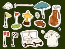 Van de de hobbyauto van golfpictogrammen van de het materiaalkar van de de speler golfing sport van de het symboolvlag van het he royalty-vrije illustratie