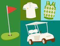 Van de de hobbyauto van golfpictogrammen van de het materiaalkar van de de speler golfing sport van de het symboolvlag van het he stock illustratie