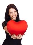 Van de holdingsValentijnskaarten van de vrouw het hart van de Dag stock afbeelding