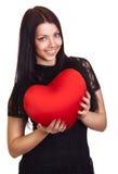 Van de holdingsValentijnskaarten van de vrouw het hart van de Dag stock fotografie