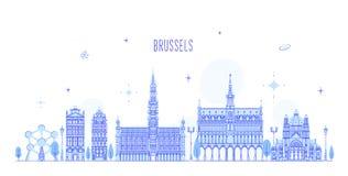 Van de horizonbelgië van Brussel vector de stadsgebouwen stock illustratie