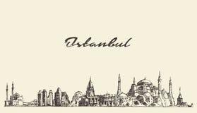 Van de horizonturkije van Istanboel de getrokken schets illustratie Royalty-vrije Stock Foto's
