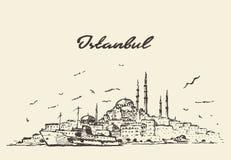 Van de horizonturkije van Istanboel de getrokken schets illustratie stock illustratie