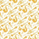 Van de de hulpmiddelen akoestische musicus van wind muzikale instrumenten van het het materiaalorkest het patroon naadloze vector royalty-vrije illustratie