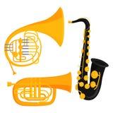 Van de de hulpmiddelen akoestische musicus van wind de muzikale instrumenten van het het materiaalorkest vectorillustratie vector illustratie