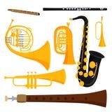 Van de de hulpmiddelen akoestische musicus van wind de muzikale instrumenten van het het materiaalorkest vectorillustratie royalty-vrije illustratie