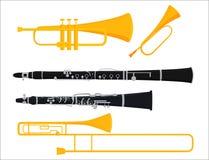 Van de de hulpmiddelen akoestische musicus van wind de muzikale instrumenten van het het materiaalorkest vectorillustratie stock illustratie