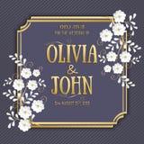 Van de huwelijksuitnodiging en aankondiging kaart met bloemenkunstwerk als achtergrond Elegante overladen bloemenbackgroun Royalty-vrije Stock Afbeelding