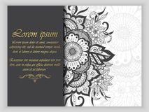 Van de huwelijksuitnodiging en aankondiging kaart met ornament in Arabische stijl Arabesquepatroon Oostelijk etnisch ornament Royalty-vrije Stock Afbeelding