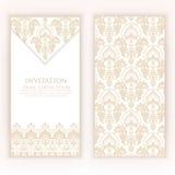 Van de huwelijksuitnodiging en aankondiging kaart met uitstekend kunstwerk als achtergrond Elegante overladen damastachtergrond royalty-vrije illustratie