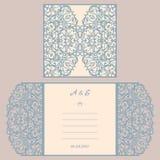 Van de huwelijksuitnodiging of groet kaart met abstract ornament Vectorenvelopmalplaatje voor laserknipsel Het document sneed kaa Stock Fotografie