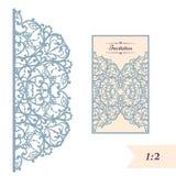 Van de huwelijksuitnodiging of groet kaart met abstract ornament Vectorenvelopmalplaatje voor laserknipsel Het document sneed kaa Stock Afbeelding