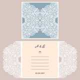 Van de huwelijksuitnodiging of groet kaart met abstract ornament Vectorenvelopmalplaatje voor laserknipsel Het document sneed kaa Vector Illustratie
