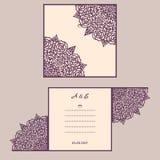 Van de huwelijksuitnodiging of groet kaart met abstract ornament Vectorenvelopmalplaatje voor laserknipsel Het document sneed kaa Royalty-vrije Stock Foto
