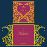 Van de huwelijksuitnodiging of groet kaart met abstract ornament Vectorenvelopmalplaatje voor laserknipsel Het document sneed kaa Stock Afbeeldingen
