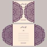 Van de huwelijksuitnodiging of groet kaart met abstract ornament Vectorenvelopmalplaatje voor laserknipsel Het document sneed kaa Royalty-vrije Illustratie