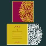 Van de huwelijksuitnodiging of groet kaart met abstract ornament Vectorenvelopmalplaatje voor laserknipsel Het document sneed kaa Royalty-vrije Stock Fotografie
