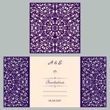 Van de huwelijksuitnodiging of groet kaart met abstract ornament Vectorenvelopmalplaatje voor laserknipsel Het document sneed kaa Royalty-vrije Stock Afbeeldingen