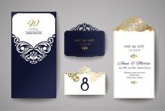 Van de huwelijksuitnodiging of groet kaart met gouden bloemenornament De envelop van de huwelijksuitnodiging voor laserknipsel Stock Foto