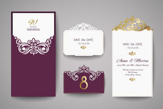 Van de huwelijksuitnodiging of groet kaart met gouden bloemenornament De envelop van de huwelijksuitnodiging voor laserknipsel Stock Fotografie