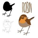 Van de de illustratie vlakke stijl van vogelrobin het vector zwarte silhouet stock illustratie