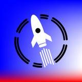 Van de de illustratiewetenschap van het ontwerppictogram van het de technologieruimteschip de raketvector vector illustratie