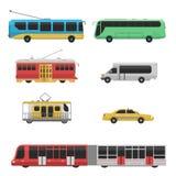 Van de industrie vector vlakke illustraties van het stadsvervoer openbare van het het verkeersvoertuig van het de bedrijfs straat stock illustratie