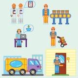 Van de de informatie grafische fabriek van kleuren vlakke illustraties de productieproces en levering Stock Foto