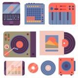 Van de instrumentenbreakdance van de hiphop de bijkomende musicus van de de tikmuziek expressieve vectorillustratie van DJ Royalty-vrije Stock Afbeeldingen