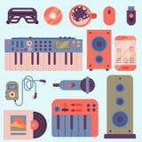 Van de instrumentenbreakdance van de hiphop de bijkomende musicus van de de tikmuziek expressieve vectorillustratie van DJ Stock Fotografie