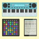 Van de instrumentenbreakdance van de hiphop de bijkomende musicus van de de tikmuziek expressieve vectorillustratie van DJ stock illustratie